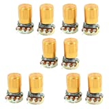 uxcell 10 Pcs 500K ohm 3-Pin 6mm Split Shaft Rotary Linear Taper Potentiometers w Knob