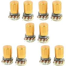 uxcell 10 Pcs 500K ohm 3-Pin 6mm Split Shaft Rotary Linear Taper Potentiometers w Knob