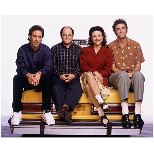 Taxi Cast (Seinfeld (TV Series 1989 - 1998) 8 inch by 10 inch) PHOTOGRAPH Full Body Cast Sitting on Yellow Taxi Cab Pose 1 kn)