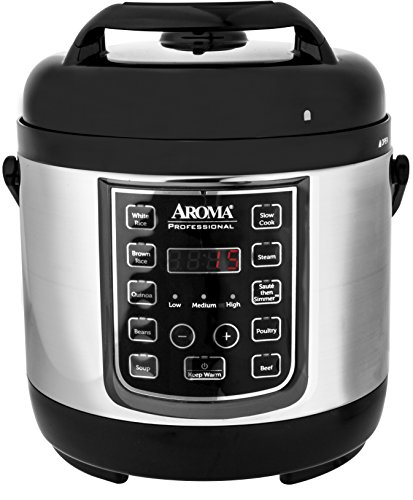 Aroma Housewares APC-805SB 8 Cup Cooked, 4 Cup Uncooked Digital Cool Touch Turbo Rice Pressure Cooker, Silver