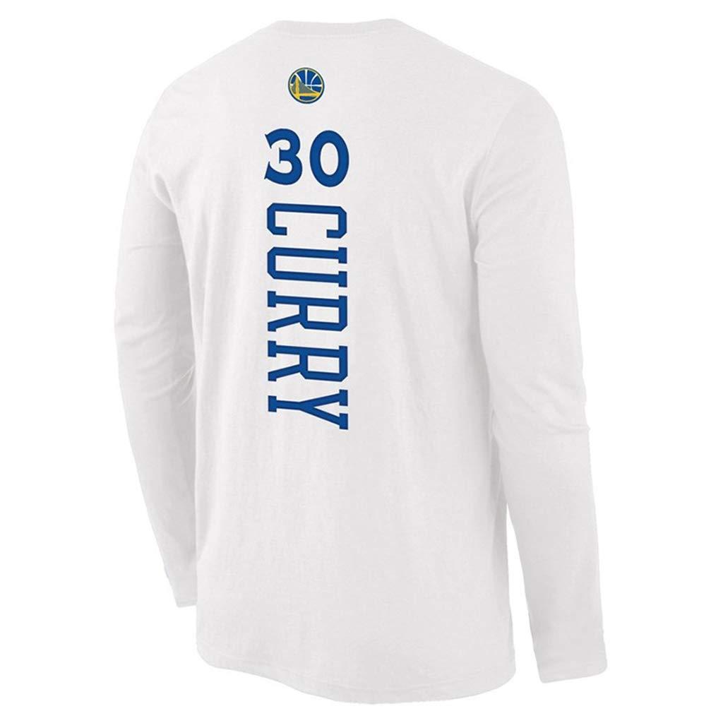 180~190cm HS-ZGC Maglia da Basket da Uomo NBA Golden State Warriors Stephen Curry # 30 Fans Sportswear Sports T-Shirt in Cotone a Maniche Lunghe Bianca Taglia S ~ 3XL,2XL