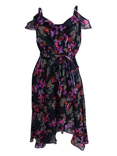 Betsey Johnson Women's Printed Cold-Shoulder Wrap Dress (6, Black/Multi)