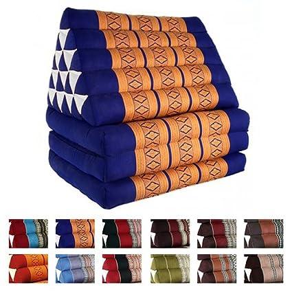 Beautissu Cojín triangular tailandés para yoga y meditación con 3 colchones - Freedom Beach - Naranja/Azul