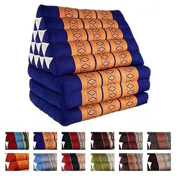 Beautissu Cojín triangular tailandés para yoga y meditación con 3 colchones - Freedom Beach - Naranja/Azul: Amazon.es: Hogar