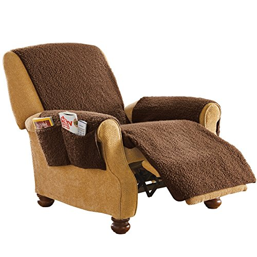 Fleece Recliner Furniture Protector Cover with Pockets, Brown