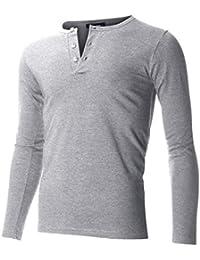 FLATSEVEN Men's Casual Henley Shirt with Button
