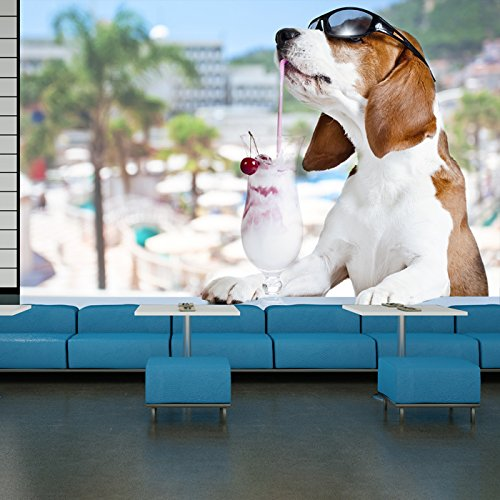 Beagle Dog In Sunglasses With Cocktail Animals Wall Mural Comedy Photo Wallpaper available in 8 Sizes Gigantic - Sunglasses Comedy