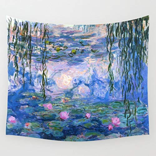 KRWHTS Blue Tapestry Water Lilies by Claude Monet Oil Paintings Flowers Wall Hanging Art Home Decor Polyester Tapestry for Living Room Bedroom Bathroom Kitchen Dorm(4, 150130cm(60