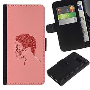 KLONGSHOP // Tirón de la caja Cartera de cuero con ranuras para tarjetas - Cráneo rosado del pelo - Sony Xperia Z3 Compact //