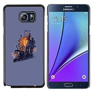 EJOOY---Cubierta de la caja de protección para la piel dura ** Samsung Galaxy Note 5 5th N9200 ** --niños de dibujo casa de tren de cuento de hadas púrpura