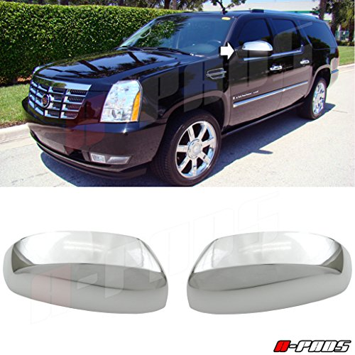 A-PAD Chrome Clip-On Replacement Cover For 2007-2012 Cadillac Escalade Mirror Covers for upper portion