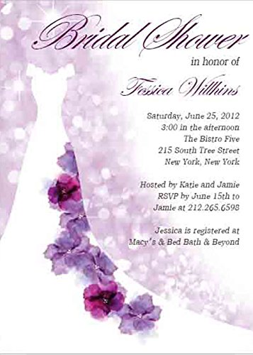 watercolor purple cartoon wedding gowns bridal shower invitations