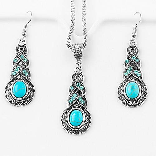 (Monowi Fashion New Women Vintage Turquoise Hook Earrings Bracelet Necklace Jewelry Set | Model ERRNGS - 18246 |)