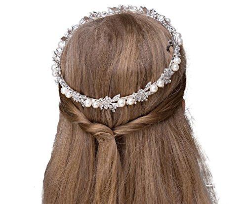 Flyme Flower Girls Headband Pearl Beading Garland Headdress Headwear  (Silver)