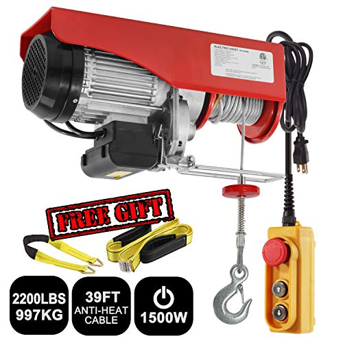 Partsam 2200 lbs Lift Electric Hoist Crane Remote Control Power System, Zinc-Plated Steel Wire Overhead Crane Garage Ceiling Pulley Winch w/Premium Straps (UL/CUL Approval, w/Emergency Stop Switch) - Electric Power Chain Hoists