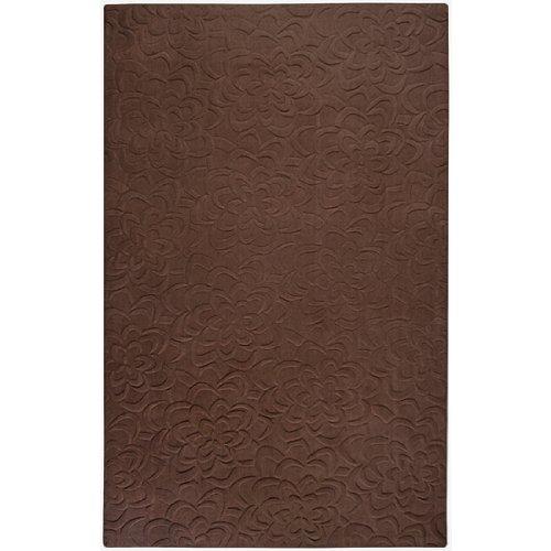 - CC Home Furnishings 9' x 13' Bas-Relief Bouquet Brown Wool Rectangular Area Throw Rug