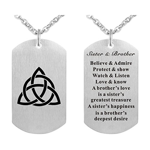 Freedom Love Gift Sister and Brother Dog Tag Necklace or Keychain Charm Celtic Family Symbol Pendant