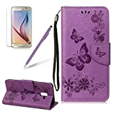 Book Style Case For Samsung Galaxy A8 2018, Girlyard Butterfly Embossing PU Wallet Folio Flip Case with Stand, Card Slots, Cash Folder Holster Case For Samsung Galaxy A8 2018, Purple