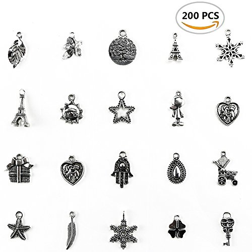 TKOnline 200Pcs Wholesale Bulk Smooth Tibetan Silver Pewter Charms Mixed Pendants DIY for Necklace Bracelet Jewelry Making and Crafting