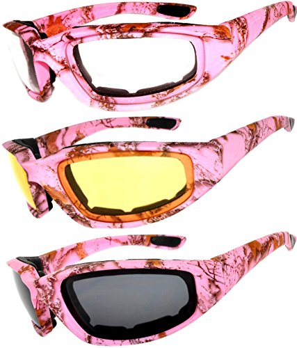 - Set of 3 Pairs Motorcycle Padded Foam Glasses Smoke Yellow or Clear Lens Owl (Camo_Pink_Colored_Lens, PC Lens)