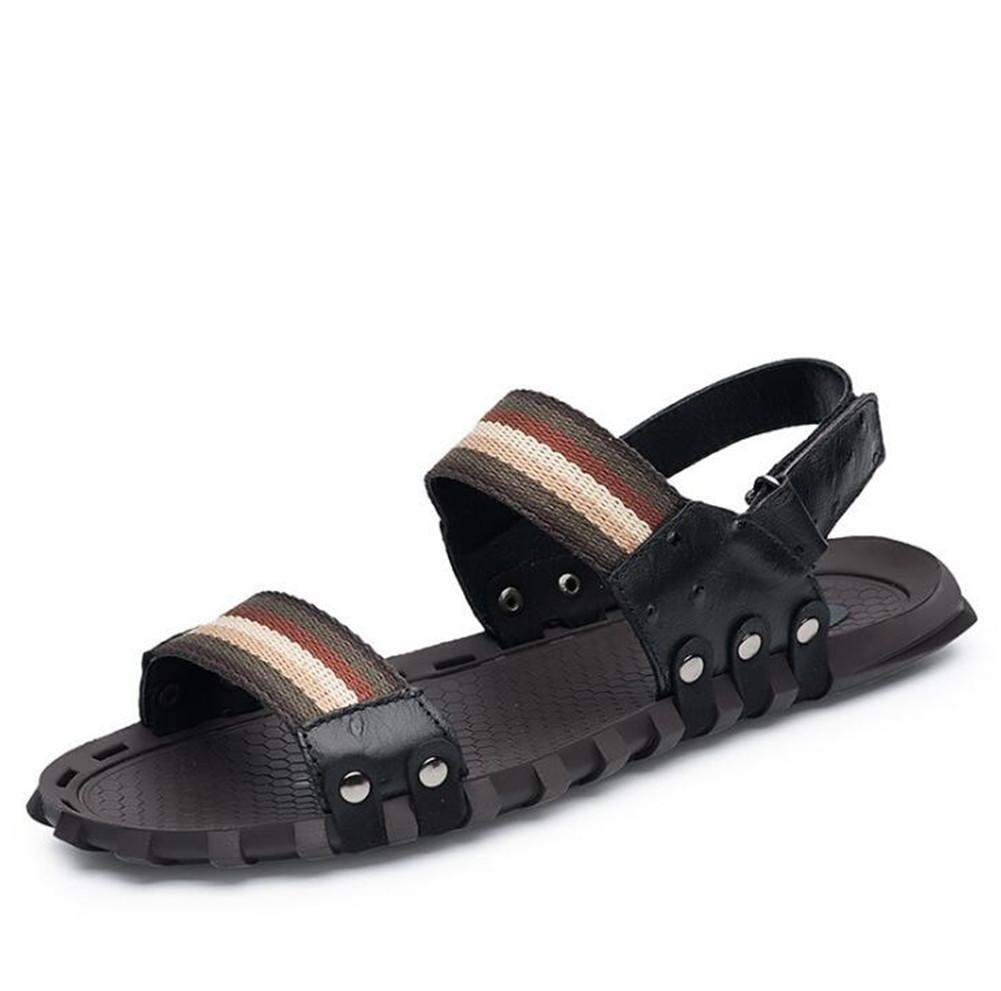 Zapatos de hombre Sandalias de cuero genuino Playa Verano Punta abierta Pull on Slipper Diapositivas transpirables Suelas blandas antideslizantes Tamaño 38 a 45 , Negro , EU41 EU41|Negro