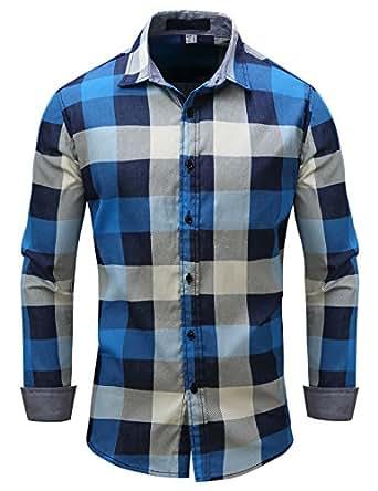 Pinkpum Camisa Casual Slim Fit Manga Larga Básico para Hombres de Algodón M-3XL Azul M