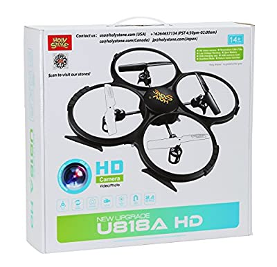 Holy Stone® Latest U818A HD+ RC Quadcopter Drone with 720P HD Camera, Return Home Function,Headless Mode,Low Battery Warning, 2.4GHz 4 CH 6 Axis Gyro RTF Includes BONUS BATTERY & GOGGLES