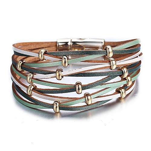 17mile Green Gold Bead Wrap Bracelet Multi-Layer Leather Bead Stand Bracelet Alloy Magnetic Clasp Boho Jewelry ()