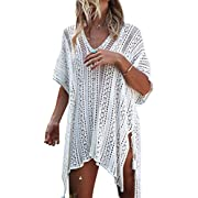 #LightningDeal Jeasona Women's Bathing Suit Cover Up for Beach Pool Swimwear Crochet Dress