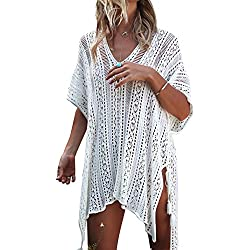 Jeasona Women's Bathing Suit Cover up Beach Bikini Swimsuit Swimwear Crochet Dress (Off White, M)