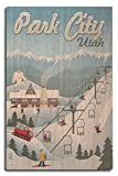 Park City, Utah - Retro Ski Resort (10x15 Wood Wall Sign, Wall Decor Ready to Hang)