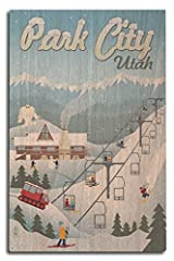 This original high-quality wood print from Lantern Press boasts sharp detail and vivid imagery of Park City, Utah - Retro Ski Resort (10x15 Wood Wall Sign, Wall Decor Ready to Hang). Product measures 10 x 15 inches  100% Printed in America  1...