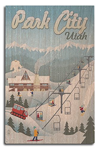 (Lantern Press Park City, Utah - Retro Ski Resort (10x15 Wood Wall Sign, Wall Decor Ready to Hang))