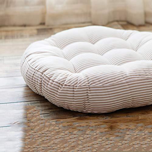 Cotton Linen Chair Cushion, Floor Pillow Stuffed Cushion, Thick Stripe Tatami Futon Seat Cushion Floor Throw Pillows-Beige Diameter:55cm(22inch)