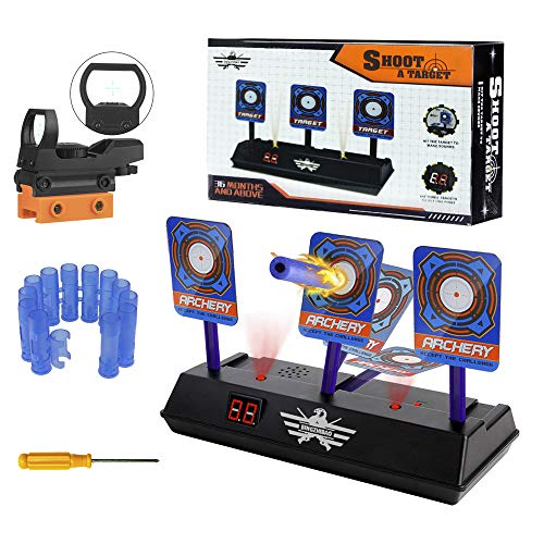 Electronic Target for Kids, Electronic Digital Target Auto Reset Digital Scoring for Target Practice with Scope Dot Sight & Wrist Band, Light Sound Effects Electronic Shooting Target for Shooting
