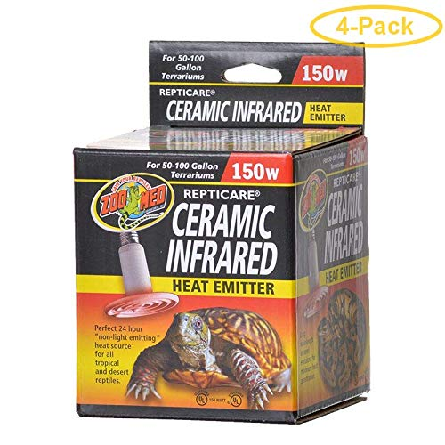 Zoo Med ReptiCare Ceramic Infrared Heat Emitter 150 Watts - Pack of 4 ()