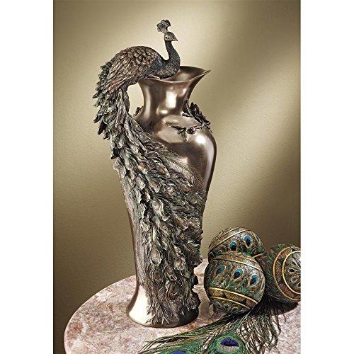 Design Toscano Peacock Centerpiece Home Decor Sculptural Vase, 19 Inch, Polyresin, Bronze ()
