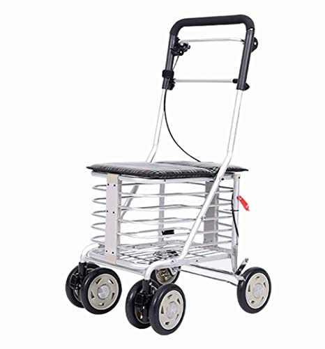 Trolley Senior Para Personas Mayores 4 Ruedas Rollator Ligero Walker Carrito Para Caminar Con Asas Ajustable