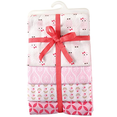 Hudson Baby Unisex Baby Cotton Flannel Receiving Blankets, 4-Pack, Pink Owls, One Size