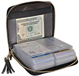 Easyoulife Womens Credit Card Holder Wallet Zip Leather Card Case RFID Blocking (Black)