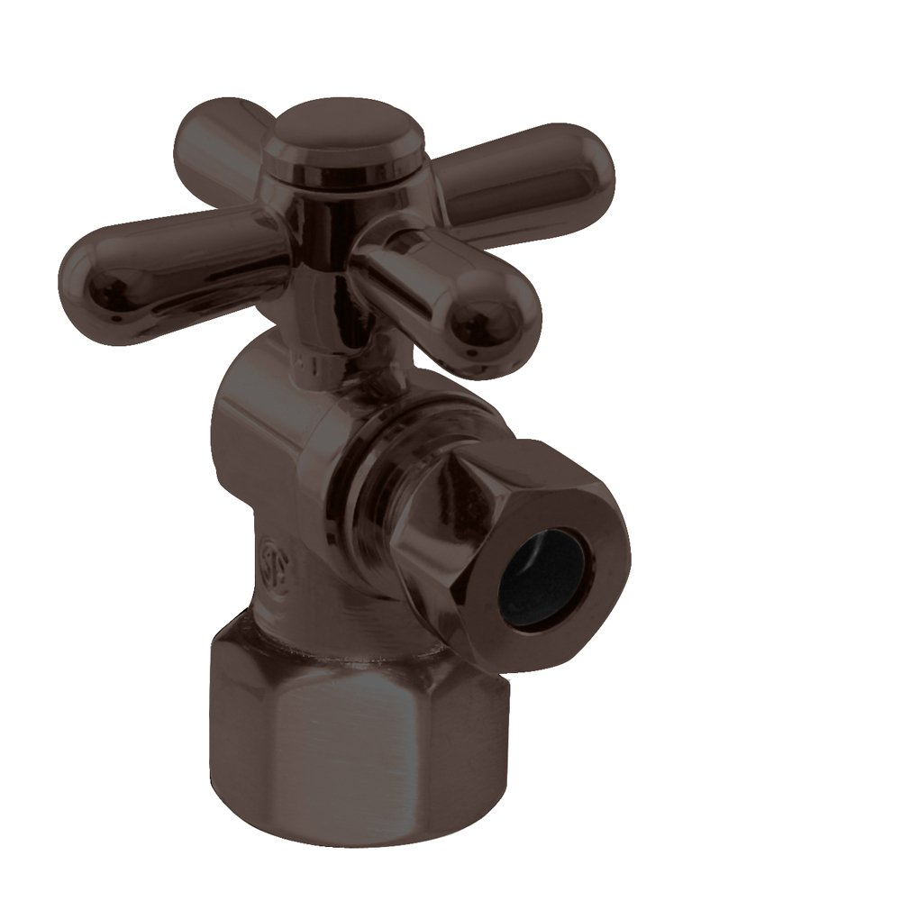 Westbrass 1/4-Turn Cross Handle Angle Stop, 1/2'' IPS x 3/8'' OD, Oil Rubbed Bronze, D103BX-12