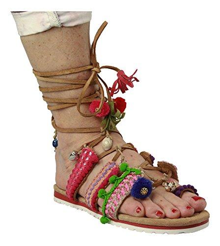 en Alma Sandales pour Pena rose Mehrfarbig bonbon femme multicolore vwHw7qd
