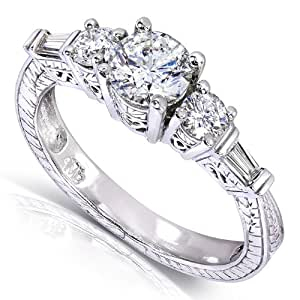 Vintage Round & Baguette Diamond Engagement Ring 1 Carat