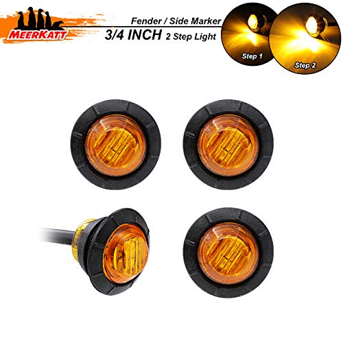 Meerkatt (Pack of 4) 3/4 Inch Mini Round Amber Kit Side Marker Lights Bullet Two Step Bright 2835 SMD Turn Signal Decorators Lamps for Trailer Truck Lorry Pickup Bus RV Jeep SUV Camper 12V DC 3led-HL