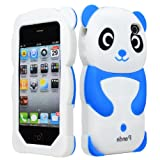 BasTexWireless Bastex Soft Gel Silicone Blue Panda Bear Animal Character Case Cover for Apple Iphone 4, 4s - Blue, Black, White