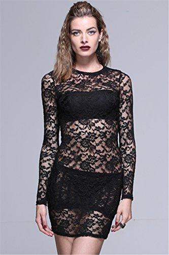 Dress Punk Skirt Dresses Womens Black Black Gothic Lace Sexy Mini Sleeve Long qtAznrt