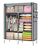 YOUUD Portable Closet Wardrobe Organizer Collection Multilayer Shelves Clothes Storage Organizer Wardrobe Gray