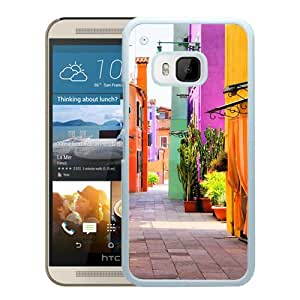 Unique HTC ONE M9 Colorful Italy Street Multicolored Houses White Screen Phone Case Luxury and Cool Design
