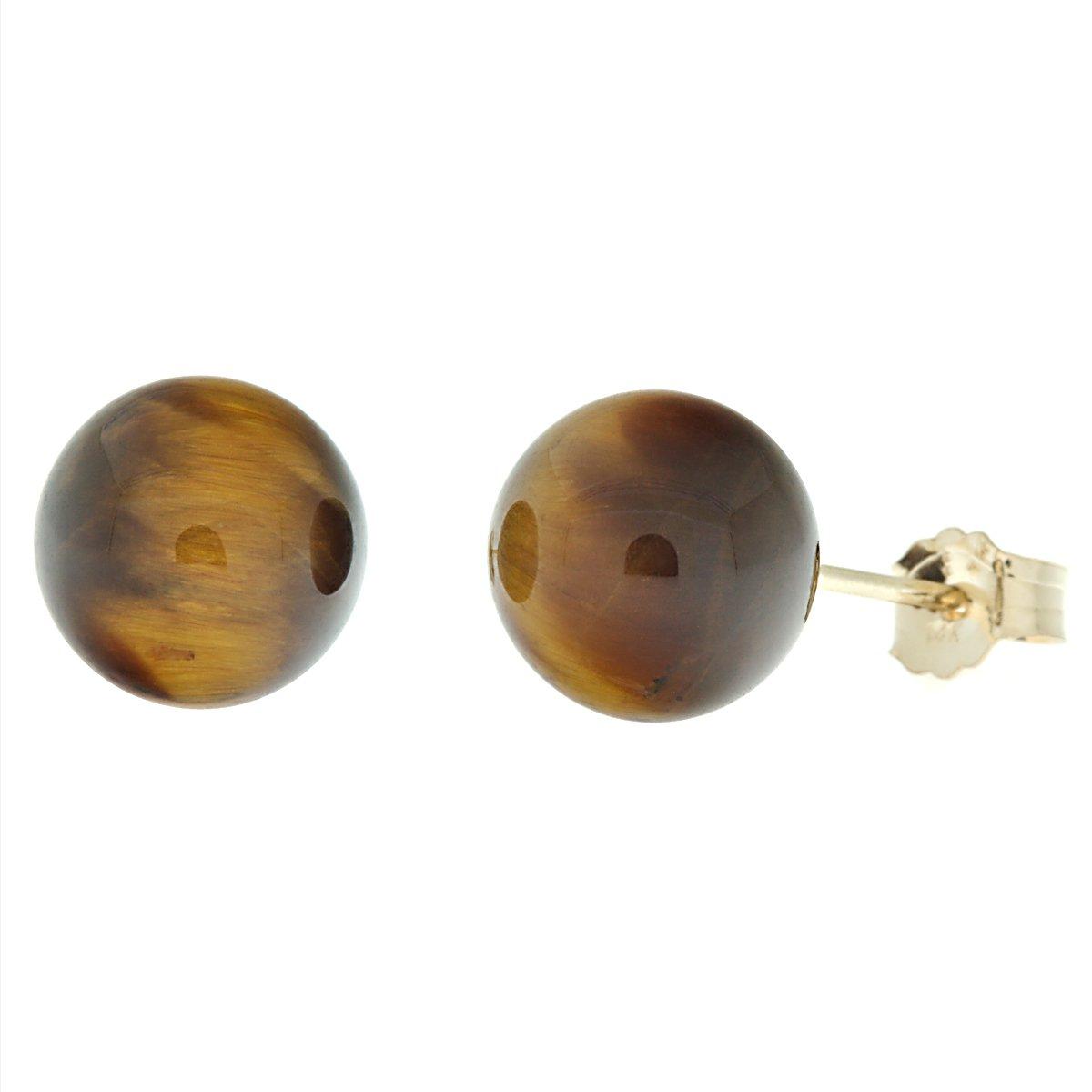 Trustmark 14K Yellow Gold 8mm Natural Brown Tigers Eye Ball Stud Post Earrings
