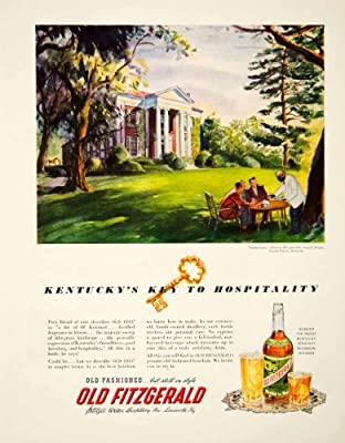 1949 Ad Old Fitzgerald Kentucky Straight Bourbon Whiskey Castle Lawn Fayette - Original Print Ad